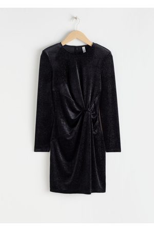 & OTHER STORIES Glitter Velour Padded Shoulder Mini Dress