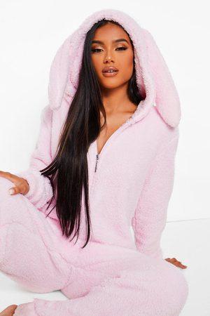 Boohoo Womens Fleece Bunny Ear One Piece - - S