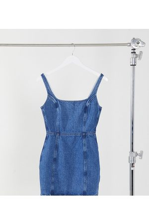 ASOS ASOS DESIGN Tall denim square neck pinny dress in