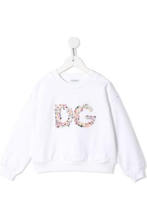 Dolce & Gabbana Kids Floral-logo crew-neck sweatshirt