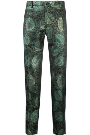 Dolce & Gabbana Metallic peacock print tailored trousers