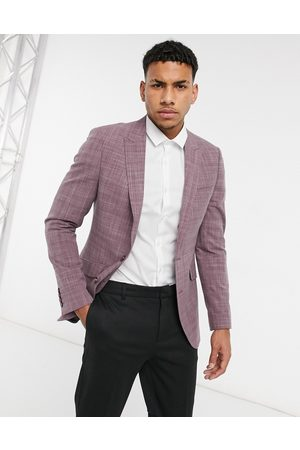ASOS DESIGN Wedding skinny suit jacket in burgundy crosshatch