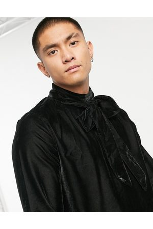 ASOS Regular fit velvet shirt with pussybow neck tie in