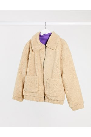 Only Pocket detail teddy jacket in sand-Tan