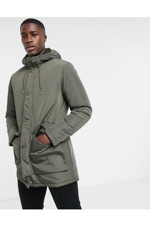 Selected Padded parka in khaki with teddy hood