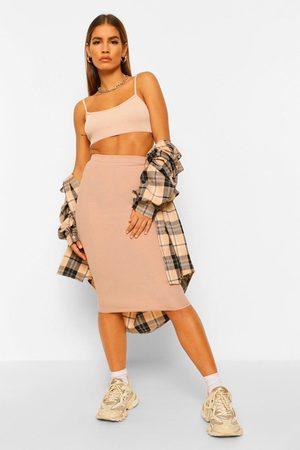 Boohoo Womens Petite Rib Midaxi Skirt - - 2