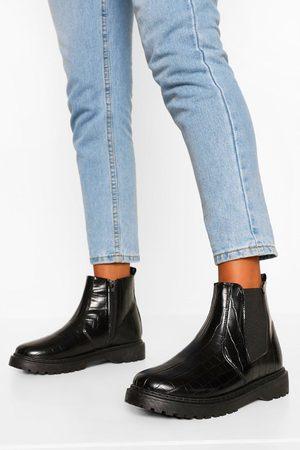 Boohoo Womens Croc Chunky Chelsea Boots - - 5