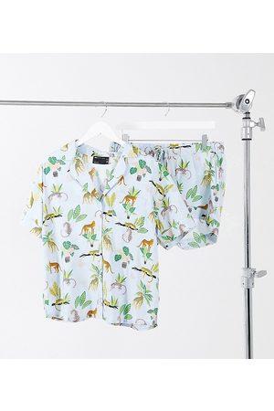 ASOS ASOS DESIGN Maternity botanical cheetah 100% modal shirt & short pajama set in