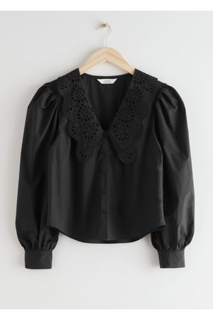 & OTHER STORIES Embroidered Collar Puff Sleeve Cotton Blouse