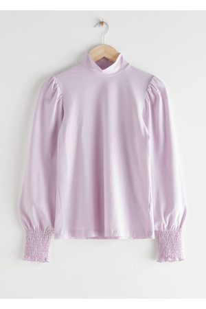& OTHER STORIES Smocked Cuff High Collar Top