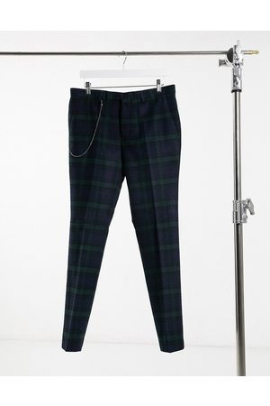 Twisted Tailor Suit pants in green and navy check