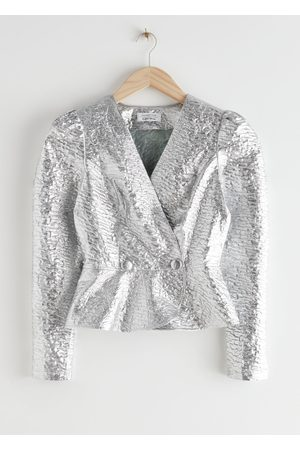 & OTHER STORIES Metallic Jacquard Peplum Wrap Blouse