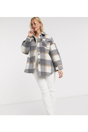 Pieces Maternity Exclusive shirt jacket with belted waist in plaid