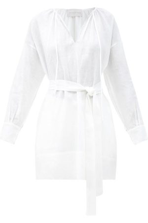 ASCENO The Santorini Belted Organic-linen Shirt - Womens