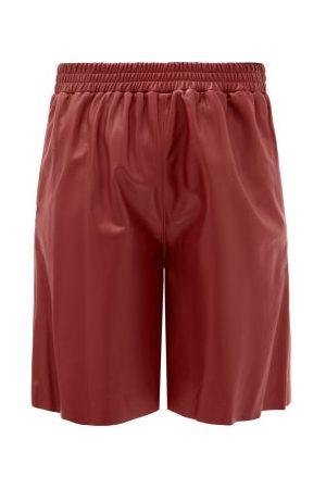 16Arlington Mandrake Elasticated-waist Leather Wide-leg Shorts - Womens - Burgundy