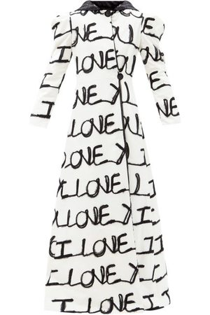 RODARTE I Love You-appliqué Cotton-blend Longline Coat - Womens