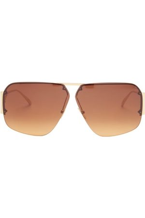 Bottega Veneta Triangle-temple Aviator Metal Sunglasses - Mens