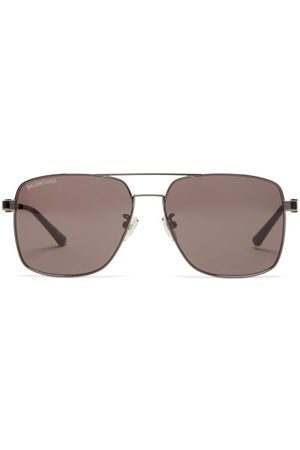 Balenciaga Aviator Metal Sunglasses - Mens - Grey
