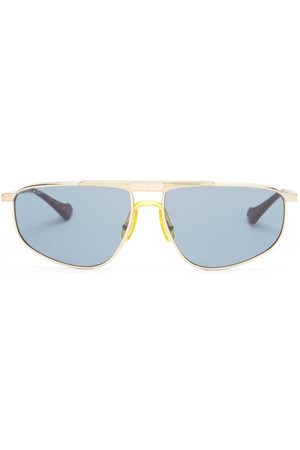 Gucci Rectangular-aviator Metal Sunglasses - Mens