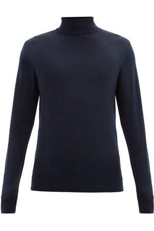 Sunspel Roll-neck Merino-wool Sweater - Mens - Navy
