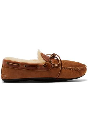 Quoddy Fireside Suede And Shearling Slippers - Mens