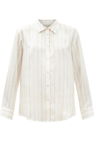 ASCENO London Striped Sandwashed-silk Pyjama Shirt - Womens - Stripe