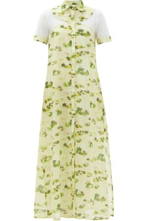 Galanthya Women Printed Dresses - Cassandra Lotus Flower-print Cotton-voile Dress - Womens - Print