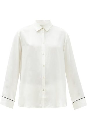 ASCENO Women Pajamas - London Sandwashed Silk-satin Pyjama Shirt - Womens