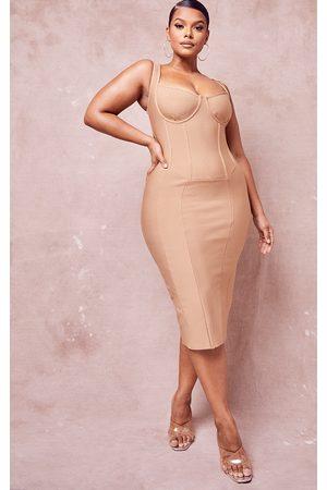 PRETTYLITTLETHING Plus Stone Bandage Sleeveless Panelled Corset Detail Midi Dress