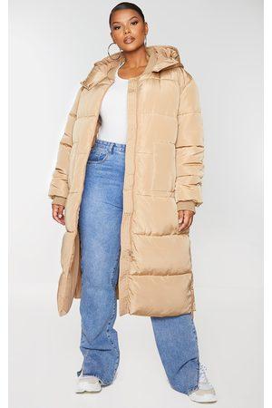 PRETTYLITTLETHING Women Puffer Jackets - Plus Stone Maxi Hooded Puffer Jacket
