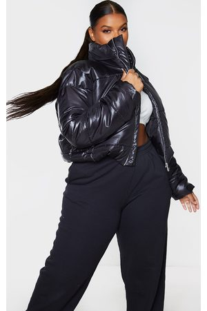 PRETTYLITTLETHING Women Puffer Jackets - Plus High Shine Cropped Puffer Jacket