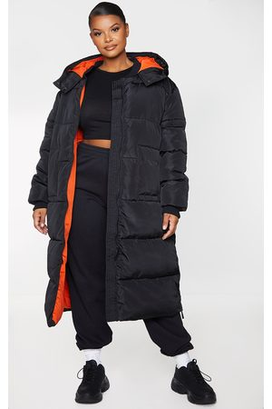 PRETTYLITTLETHING Plus Maxi Contrast Hooded Puffer Jacket