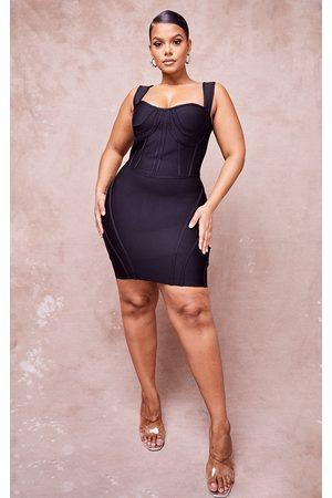 PRETTYLITTLETHING Women Bodycon Dresses - Plus Bandage Bust Detail Sleeveless Corset Bodycon Dress