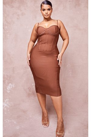 PRETTYLITTLETHING Plus Chocolate Bandage Cut Out Underbust Strappy Midi Dress