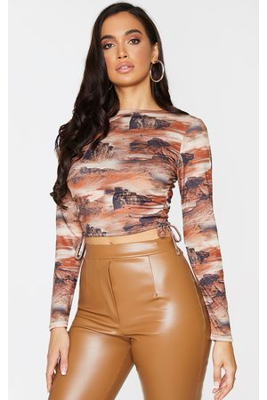 PRETTYLITTLETHING Jersey Tie Ruched Side Long Sleeve Crop Top