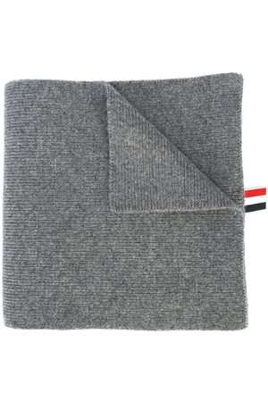 Thom Browne 4-Bar Stripe Cashmere Rib Scarf - Grey