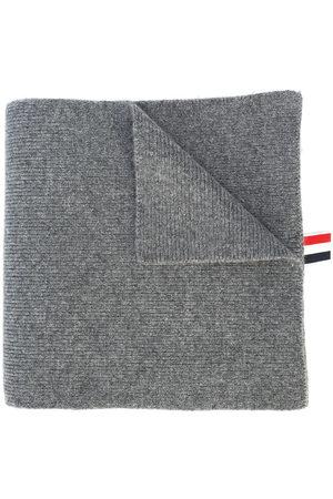 Thom Browne 4-Bar Stripe Cashmere Rib Scarf - Grey