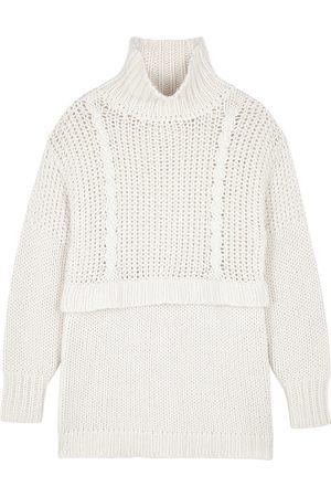 Villao Light grey cable-knit wool-blend jumper