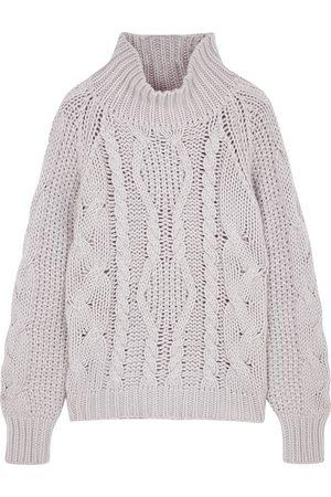 Villao Women Turtlenecks - Ivory chunky-knit wool-blend jumper