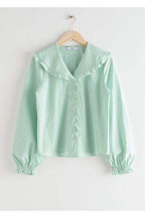 & OTHER STORIES Boxy Button Up Ruffle Blouse - Turquoise