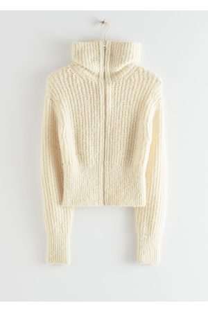 & OTHER STORIES Wide Collar Knit Zip Cardigan