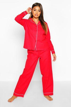 Boohoo Womens Brushed Button Through Pj Trouser Set - - 2