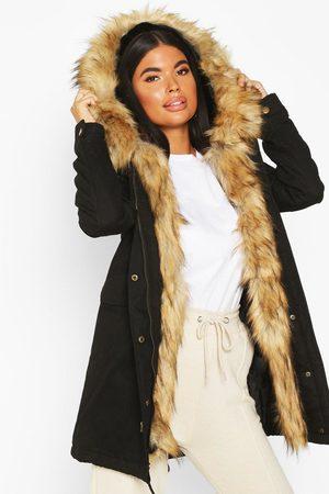 Boohoo Womens Petite Faux Fur Trim Parka - - 2