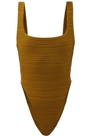 Mara Hoffman Idalia Pleated Recycled-fibre Swimsuit - Womens - Dark