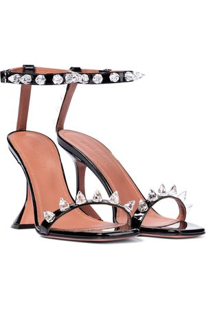 Amina Muaddi Julia embellished patent leather sandals
