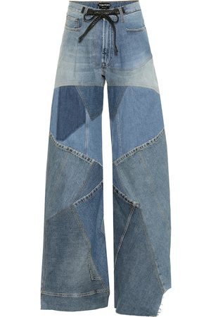 Tom Ford Patchwork high-rise wide-leg jeans