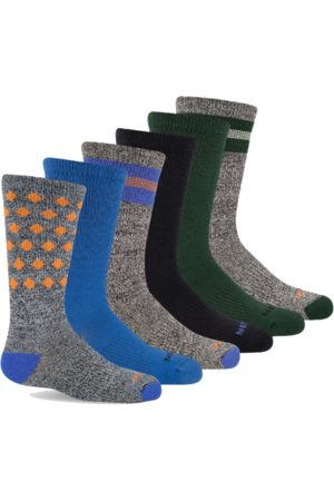 Socks - Merrell Kid's Hybrid Hiker Crew Sock 6-Pack, Size: S/M