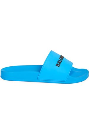Balenciaga Men's Logo Neon Pool Slides - - Size 45 (12) Sandals