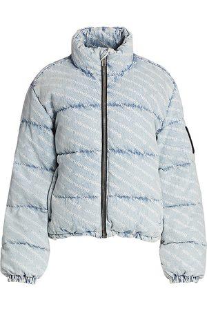 Alexander Wang Women's Logo Print Denim Puffer Jacket - - Size Small
