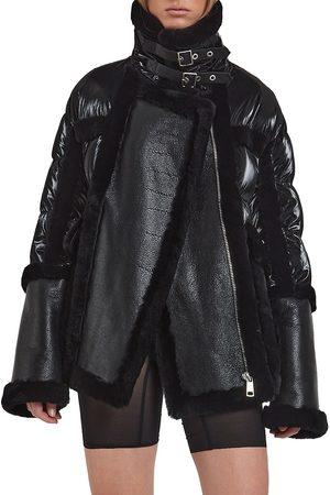 Nicole Benisti Women's Garnier Shearling Aviator Puffer Jacket - - Size Large
